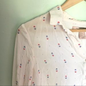 Cropped Ice Pop Print Blouse